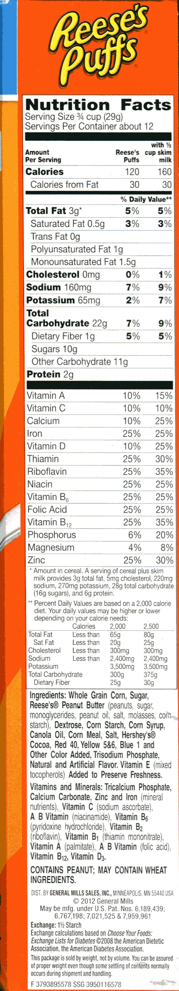 Reese S Puffs Nutrition Facts Label - Nutrition Ftempo